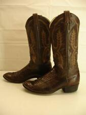 Larry Mahan Mens 9 D M Exotic brown snake python snakeskin cowboy western boots