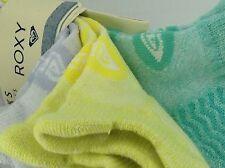 Women's ROXY Brand Green Gray Yellow Low Cut Socks - 3 Pack - $36 MSRP - 25% off