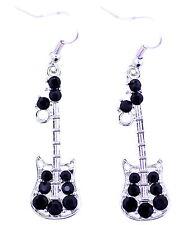 Vintage argento stile retrò e chitarra orecchini pendenti neri