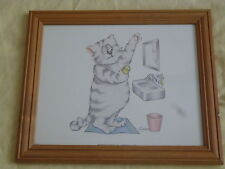 FRAMED BATHROOM CATS 1 SIGNED LANGSTON DATED 1989 LITHO IN USA 1182 BERNARD PICS