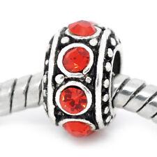 July Birthstone Red Rhinestone Spacer Ring Bead fits European Charm Bracelets