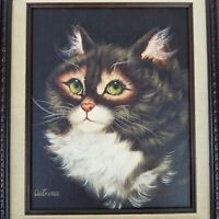 Vintage Cutrona Cat Painting Acrylic or Oil On Canvas Framed Original Signed EUC