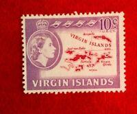 QE11 BRITISH VIRGIN ISLANDS 10c POSTAGE STAMP MINT HINGED MAP