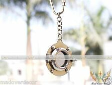 MARITIME NAUTICAL VINTAGE SOLID BRASS SHIP PORT HOLE CAIN KEY RING COLLECTIBLE