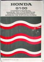 HONDA G100 - Engine Owners Handbook - 1988 - #00X36-ZG0-6000/ #36ZG0600