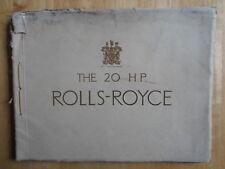 Rolls Royce 20 Hp Lujo 1927 cuerdas atadas folleto de ventas de catálogo
