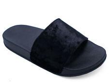 WOMENS BLACK COMFY FAUX-VELVET SLIP-ON SLIDERS MULES SANDALS CASUAL SHOES UK 3-8