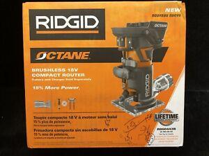 RIDGID Fixed Base Router 1/4 in. Bit 18-Volt OCTANE Cordless Brushless Motor.