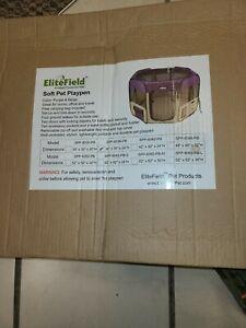 """Elite Field 2-Door Soft Pet Playpen 36"""" x 36"""" x 24"""" Purple & Beige New, in box!"""