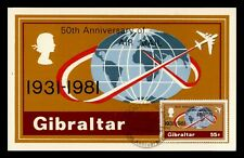 DR WHO 1981 GIBRALTAR FDC 50TH ANNIV OF AIRMAIL POSTCARD z211087