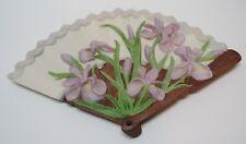 Dutch Iris Porcelain Fan Purple Iris Lace Design with Flowers Goebel Usa 1985