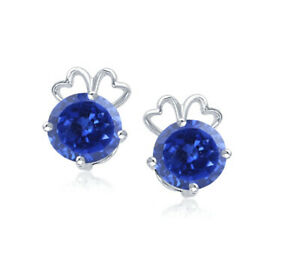 Natural Blue Tanzania Tanzanite 2.00Ct Round Shape Solitaire Studs In 14KT Gold