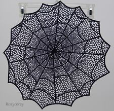 Halloween Holiday Home 4 - 17x17 Black Vinyl Spider Web Spiderweb Placemats NEW