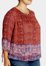 Lucky Brand Tapestry Print Blouse Red 3X NWT $99