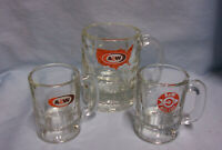 MUGS: Vintage Collectible (3) A & W Root Beer Glass Mugs w/ 3 Different Logos A1