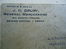 19 00003Ee1 01 Cover J C Drury General Merchandise and Country Produce Beaver Centre Pa