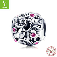 Authentic 925 Sterling Silver Love Messenger Clear CZ Charm Beads Jewelry Women