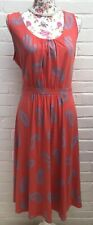 New Boden Size 20L Salmon Pink Jersey Dress Stretch Long Paisley Fit Flare