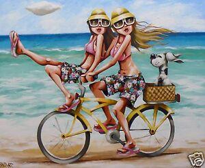 "Poster canvas print by Andy Baker 36"" painting  art beach beach surf Australia"