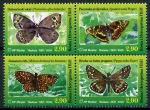 Bosnia & Herzegovina Butterflies Stamps 2020 MNH Fauna Butterfly 4v Block