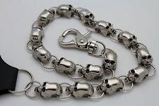 Men Silver Metal Long Wallet Chain Link Jeans Biker Skull Trucker Gothic Rocker