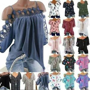 Plus Size Womens Floral Shirts Blouse Tunic Tops Summer Holiday Loose T-Shirt AU