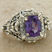 ANTIQUE VICTORIAN STYLE LAB ALEXANDRITE 925 STERLING SILVER RING Sz 7.75,   #264