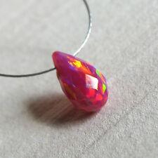 synth. opal pink rainbow tropfen gebohrt, facettiert, 10x5,5mm aus japan