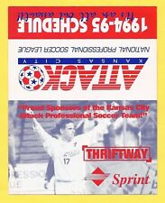 Kansas City Attack 1994-95 Pocket Schedule NPSL Soccer Futbol