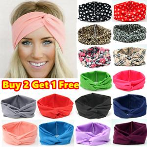 Turban Twist Knot Sports Headband Plain Elastic Head Hair Band Stretchy Gym Yoga