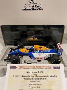 Signed COA - Exoto 1-18 - Nigel Mansell - 1992 Williams Renault FW14B - F1