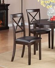 Set of 6 Boston dinette kitchen dining chairs w/ faux leather seat in cappuccino