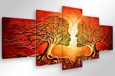 Quadro Moderno 5 pz. cm 200x90 ABSTACT KISS RED Stampa su Tela Canvas arredo