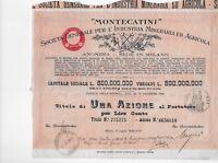 1936 * MILANO MONTECATINI MINERARIA E AGRICOLA * AZIONE STORICA