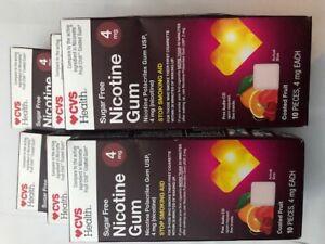 lot of 6CVS Health Sugar Free Nicotine Gum 4mg Coated FRUIT 10 pieces
