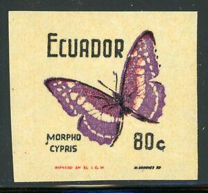 ECUADOR MNH Butterflies Specialized: Scott #803VAR 80c IMPERF Single $$$