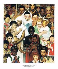 Norman Rockwell print: THE GOLDEN RULE or DO UNTO OTHERS Jews Muslims Christians