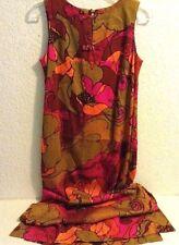 Vtg 60's Tropicana Hawaii BARKS CLOTH Maxi Dress PSYCHEDELIC FLORAL Size 6 /SM