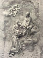 Vision de St Antoine de Padoue Denys Puech gravure Buland Sté Amis Arts fin XIX