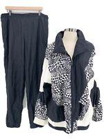 Vtg LAVON Womens 80s 90s Black White Geometric Colorblock Track Suit Sz L