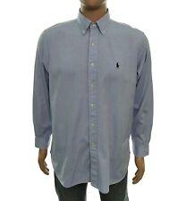 Camicia Polo Ralph Lauren da uomo taglia 16 35 celeste button down manica lunga