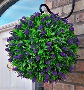 Best Artificial Purple Lavender Flower Ball Hanging Topiary Garden Basket Plant