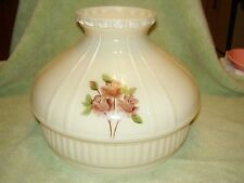 """10"""" GLASS ALADDIN painted TRIPLE ROSE SHADE N679 / old antique oil lamp /alacite"""