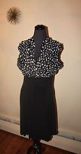 AMANDA LANE SIZE 10 DRESS BLACK AND WHITE RUFFLED TOP BUSTY THICK SLEEVES