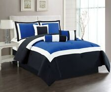7Pc Cal King Navy Blue / Black / White Color Block Comforter Set Bed in A Bag