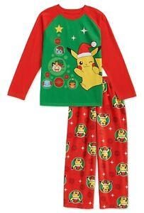 POKEMON Christmas Pajamas Size 4-5 6-7 8 10-12 Small-M-L Boys Set Winter Holiday