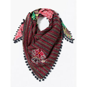 RRP €59 Desigual Foulard TRIANGLE CLEO Red Knit Foulard Scarf