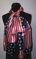 "Patriotic USA Flag Scarf 13"" X 60"" Satin Long Scarves RED 4th Fourth of July NEW"