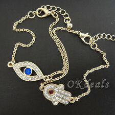 Fashion Women Rhinestone Evil Eye Amulet Hamsa Fatima Hand Bracelet Jewelry