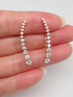 925 Sterling Silver Cz Bar Ear Vine Crawler Climber Earrings 29mm